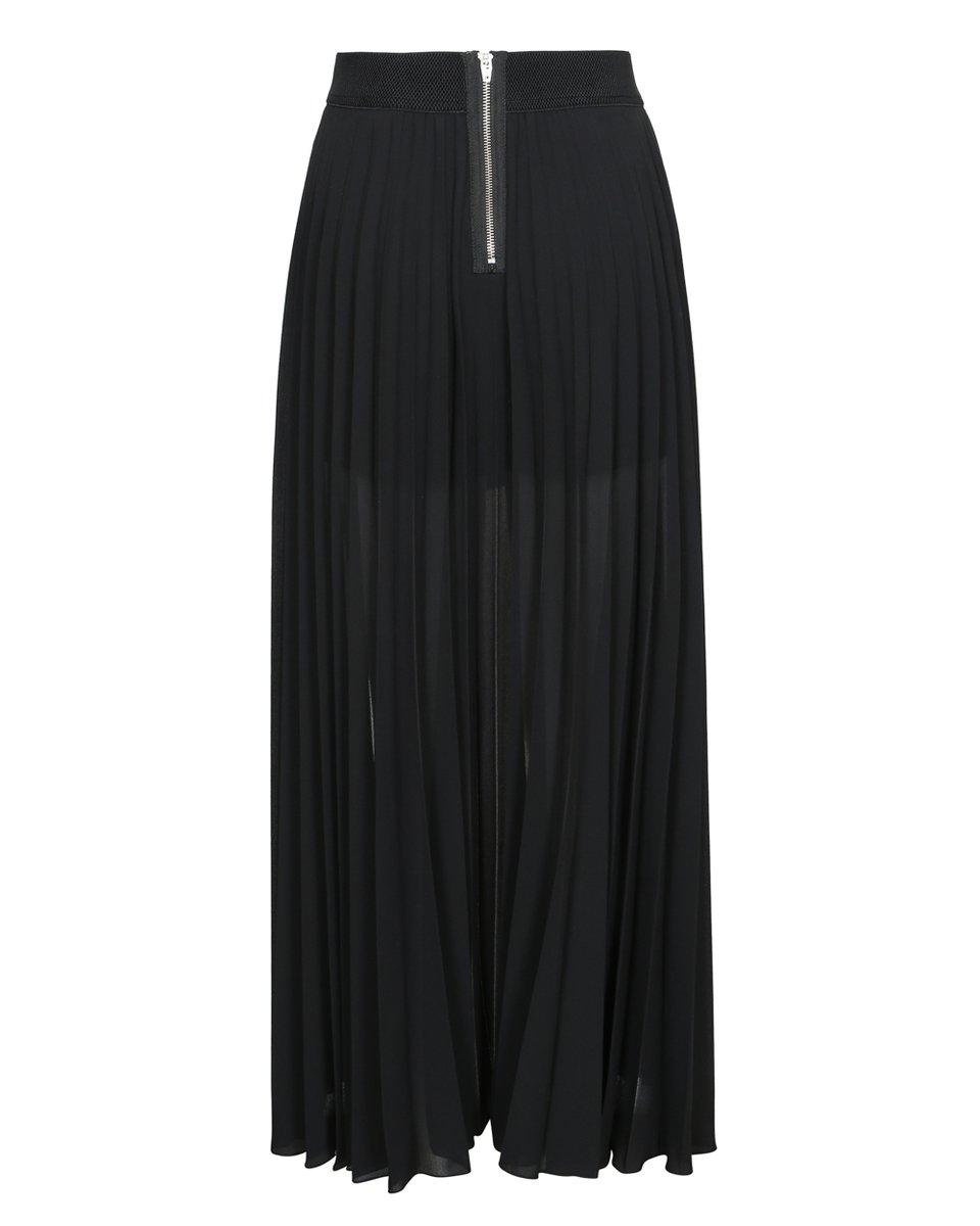 Шорты-юбка со шлейфом-гофре черного цвета