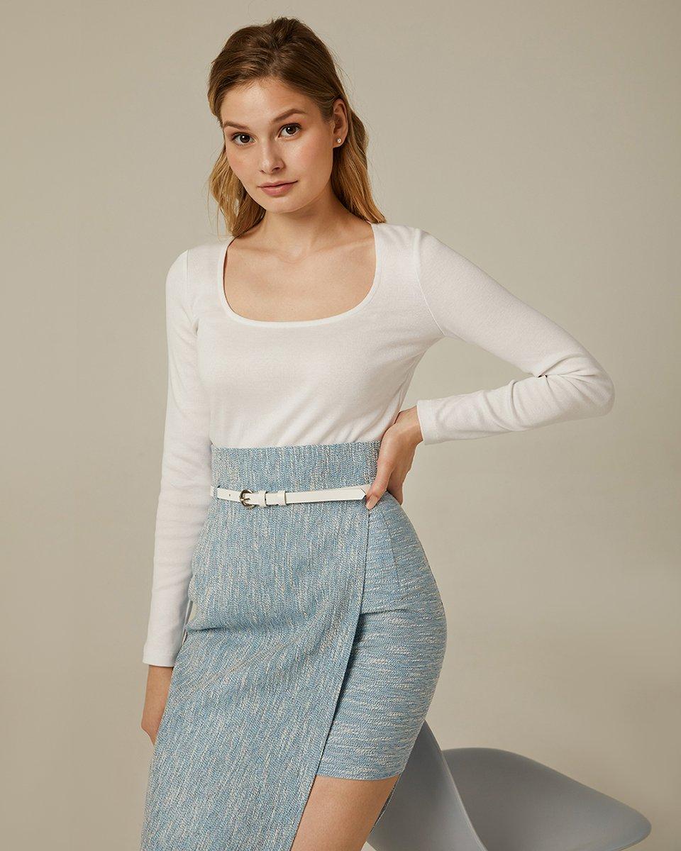 Блуза из фактурного трикотажа в рубчик