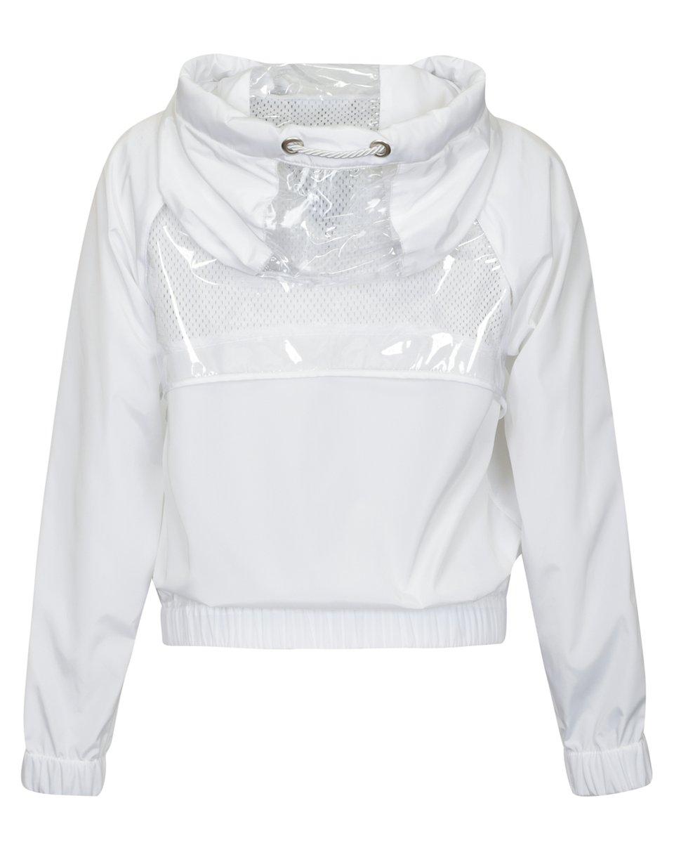 Ветровка белого цвета с прозрачными вставками