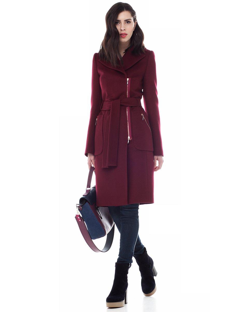 Винное пальто-косуха прямого силуэта