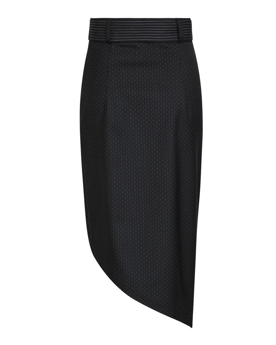 Юбка из костюмной ткани с асимметричным подолом