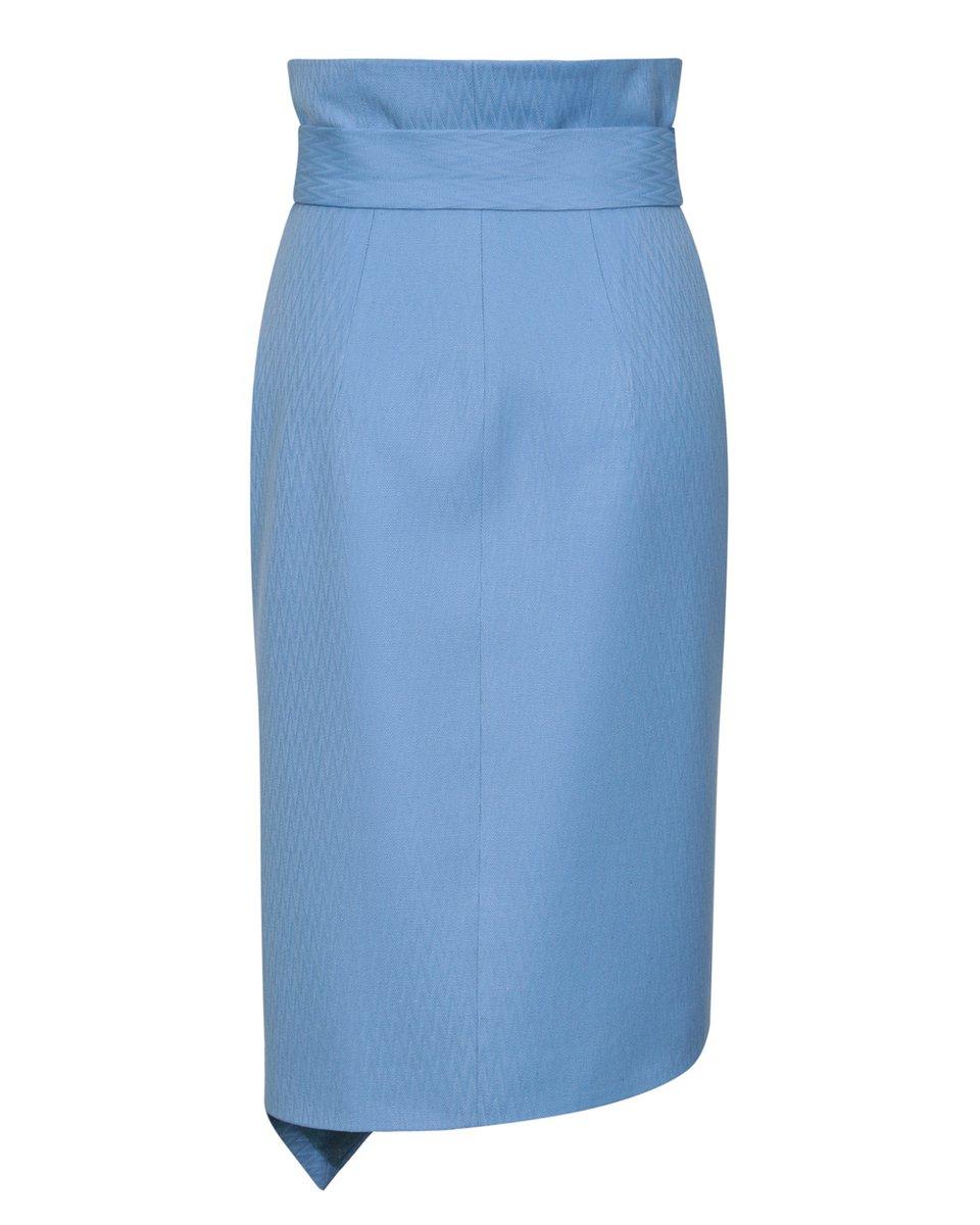 Юбка голубого цвета на запах с асимметричным низом