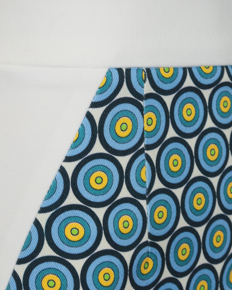 Юбка-карандаш из двух видов ткани с принтом «круги»