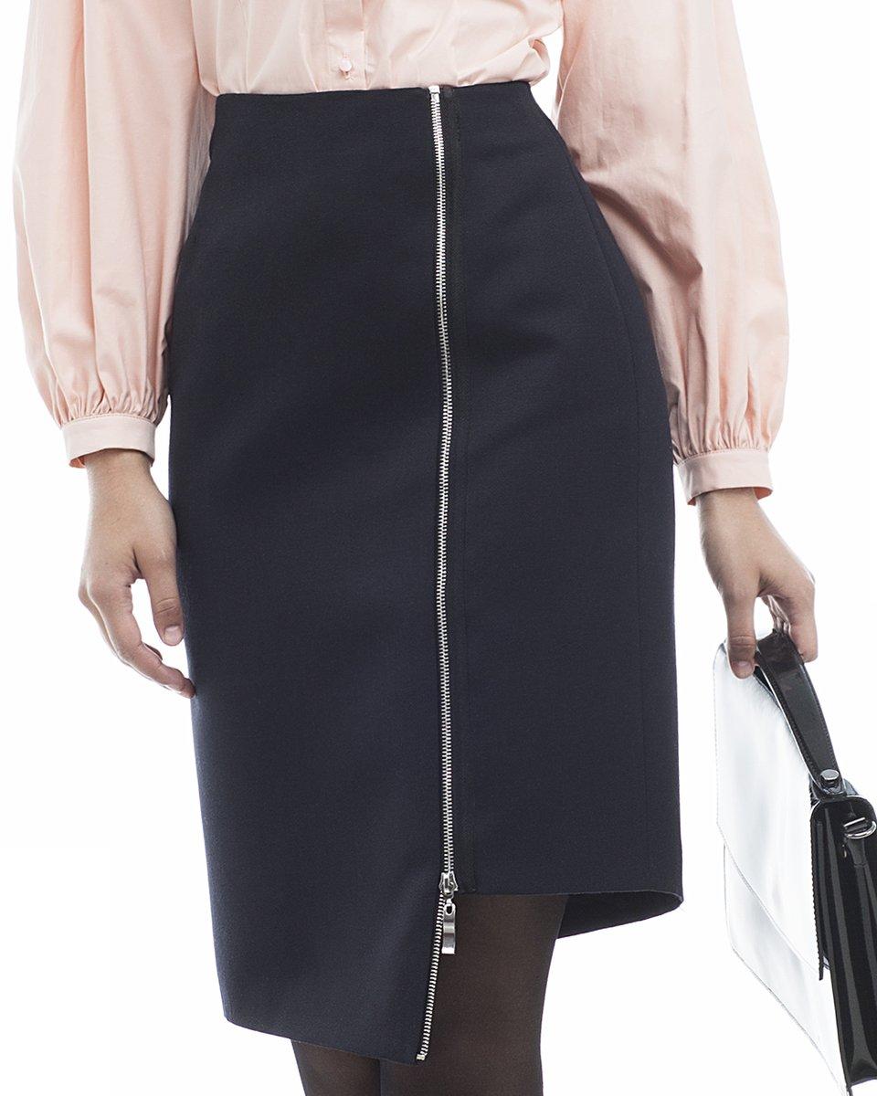 Асимметричная юбка-карандаш с молниями