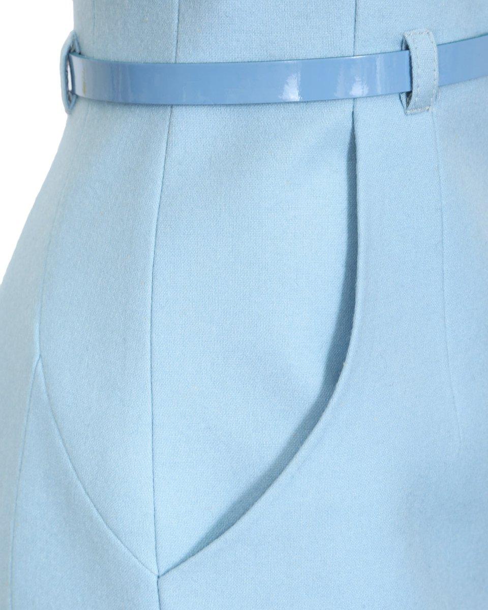 Юбка карандаш с завышенной линией талии, голубого цвета