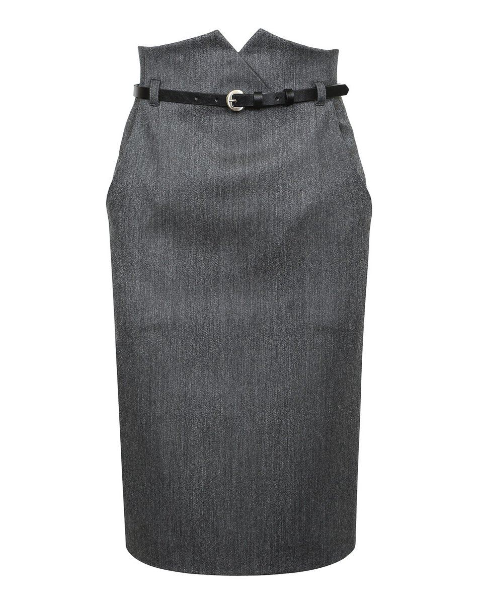 Юбка карандаш с завышенной линией талии серого цвета