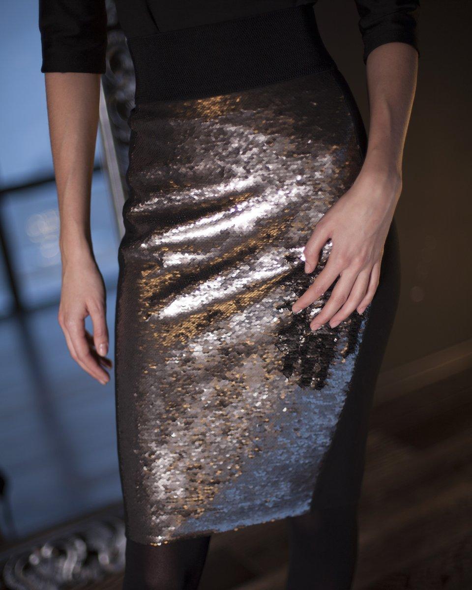 Юбка-карандаш из комбинированной ткани с пайетками серебряного цвета