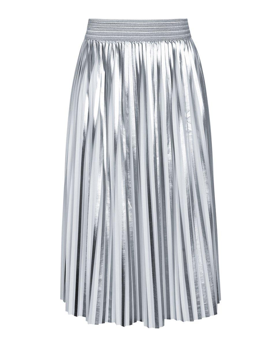 Юбка-плиссе длины миди серебряного цвета