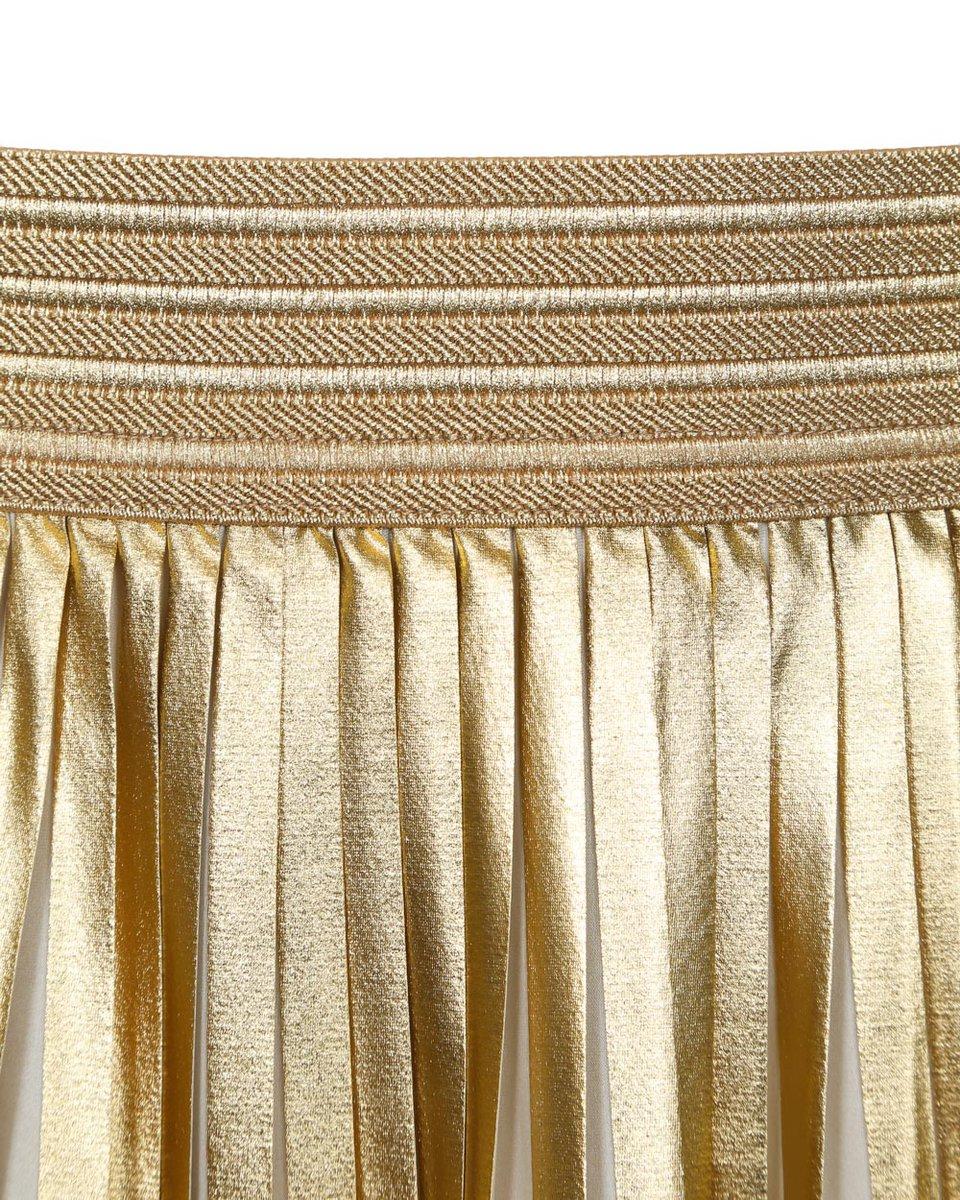 Юбка-плиссе длины миди золотого цвета