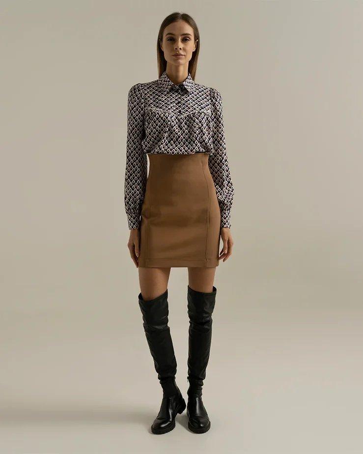 Трикотажная мини-юбка