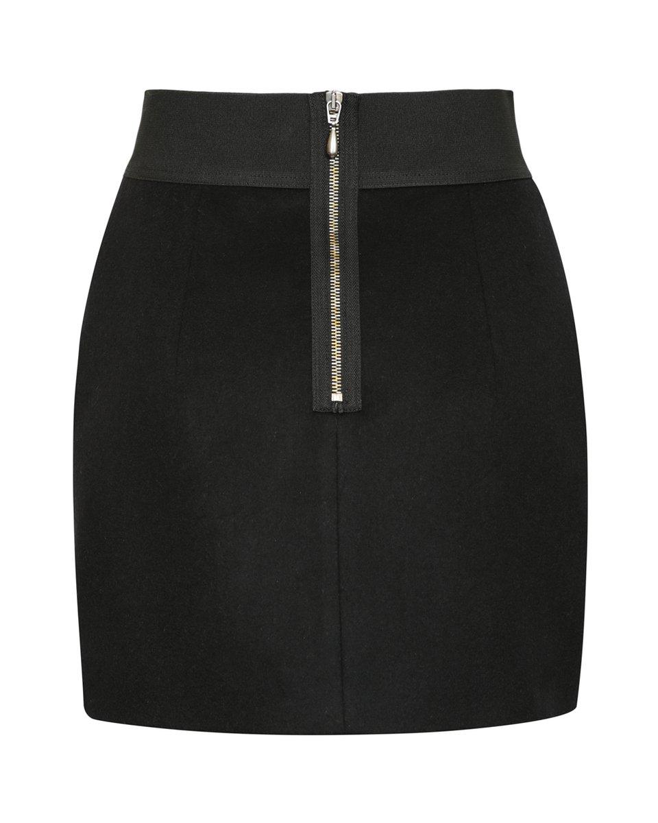 Юбка мини черного цвета из драпа