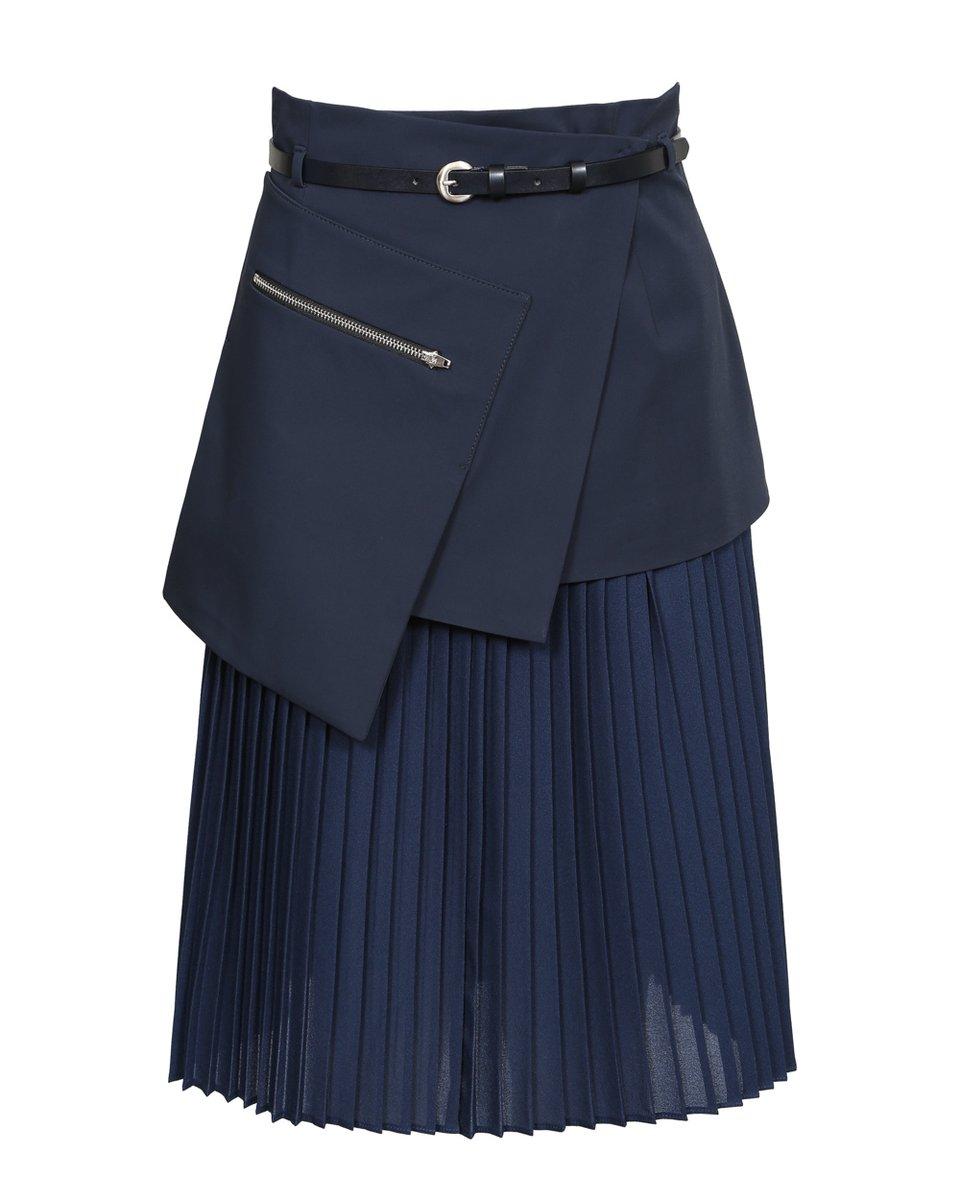 Юбка-плиссе с баской темно-синего цвета