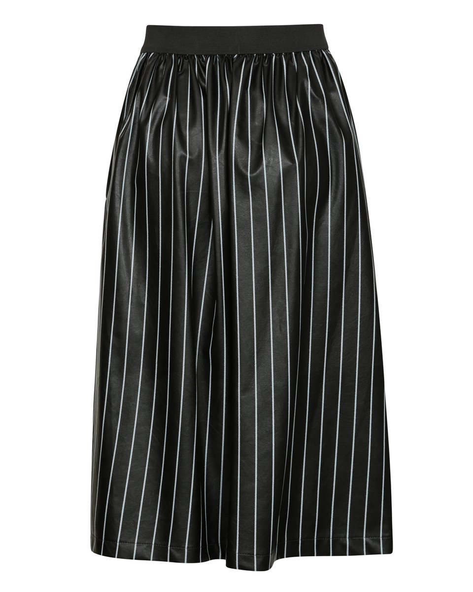 Юбка пышная из экокожи черного цвета в полоску