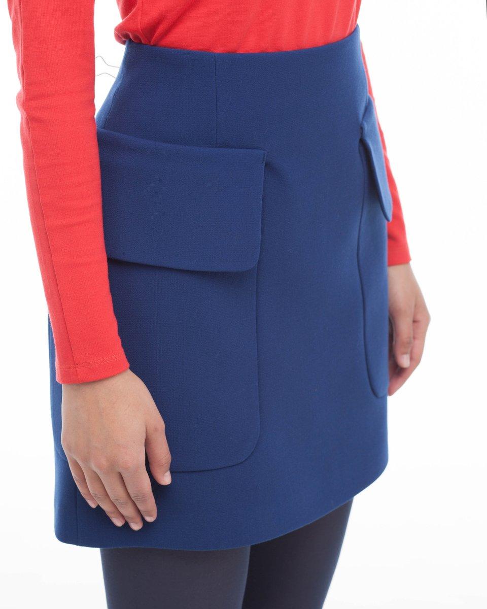 Юбка с большими карманами, синяя