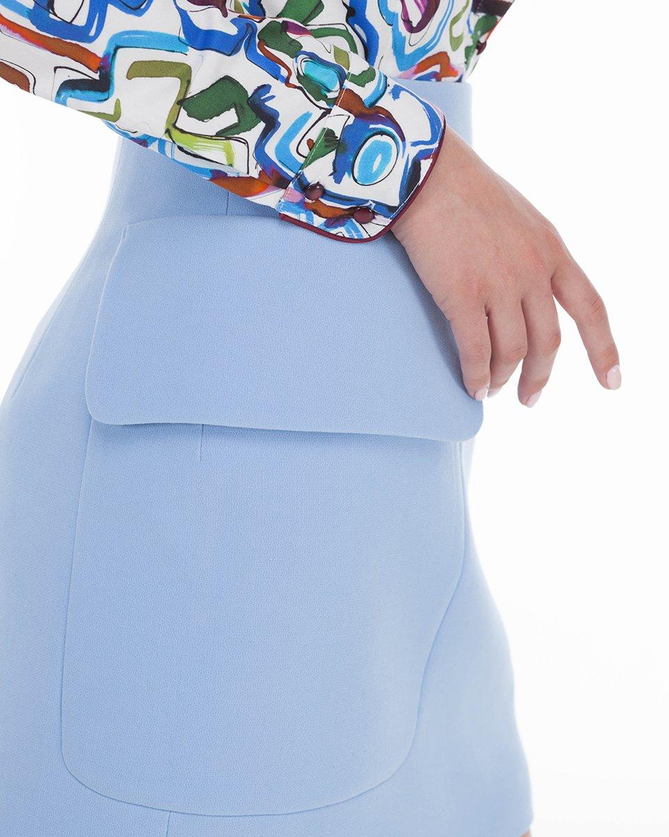 Юбка-трапеция с накладными карманами