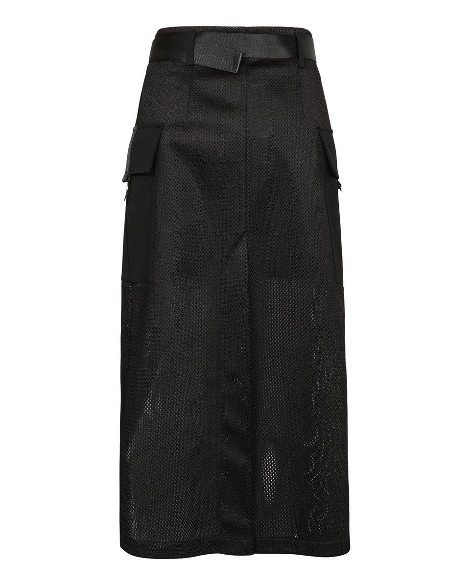 Юбка с парео из черной сетчатой ткани