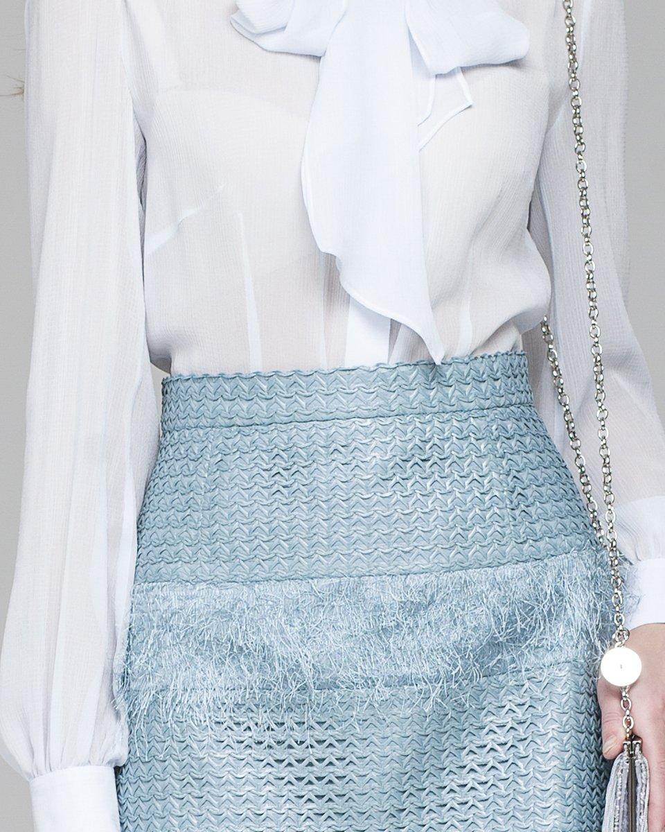 Юбка-трапеция с бахромой и плетеными элементами