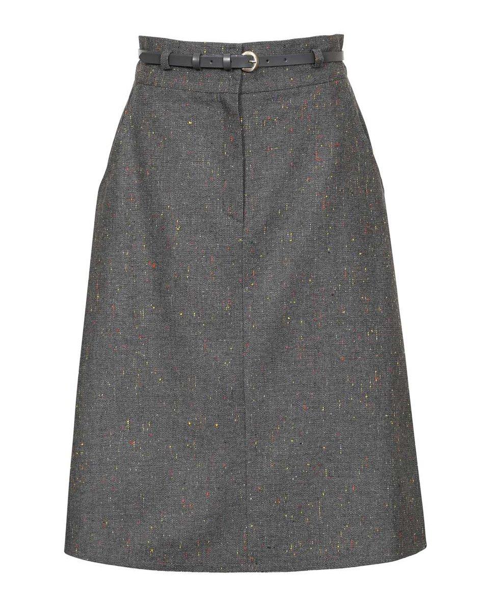 Юбка серого цвета из шерсти с разноцветными вкраплениями