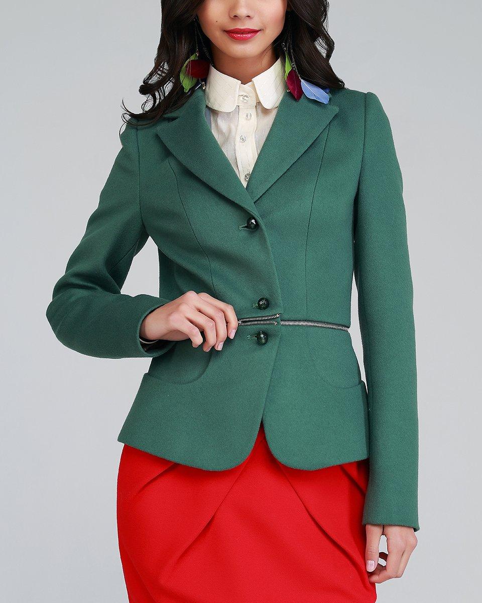 Жакет- трансформер с баской, зеленый