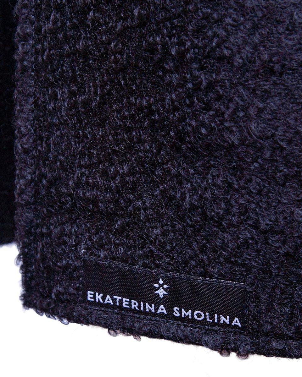 Жилет черного цвета из буклированной шерстяной ткани