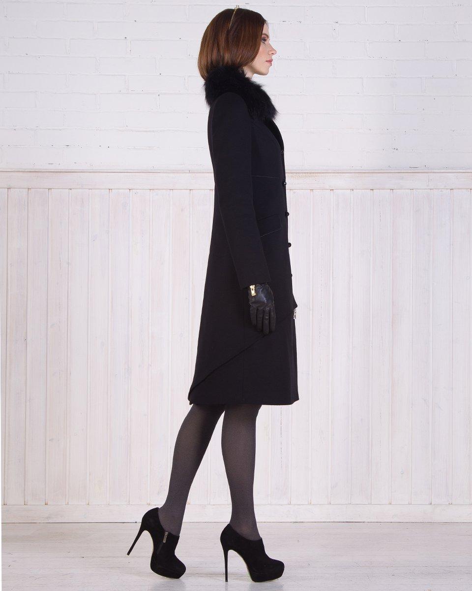 Зимнее пальто-фрак, черное.