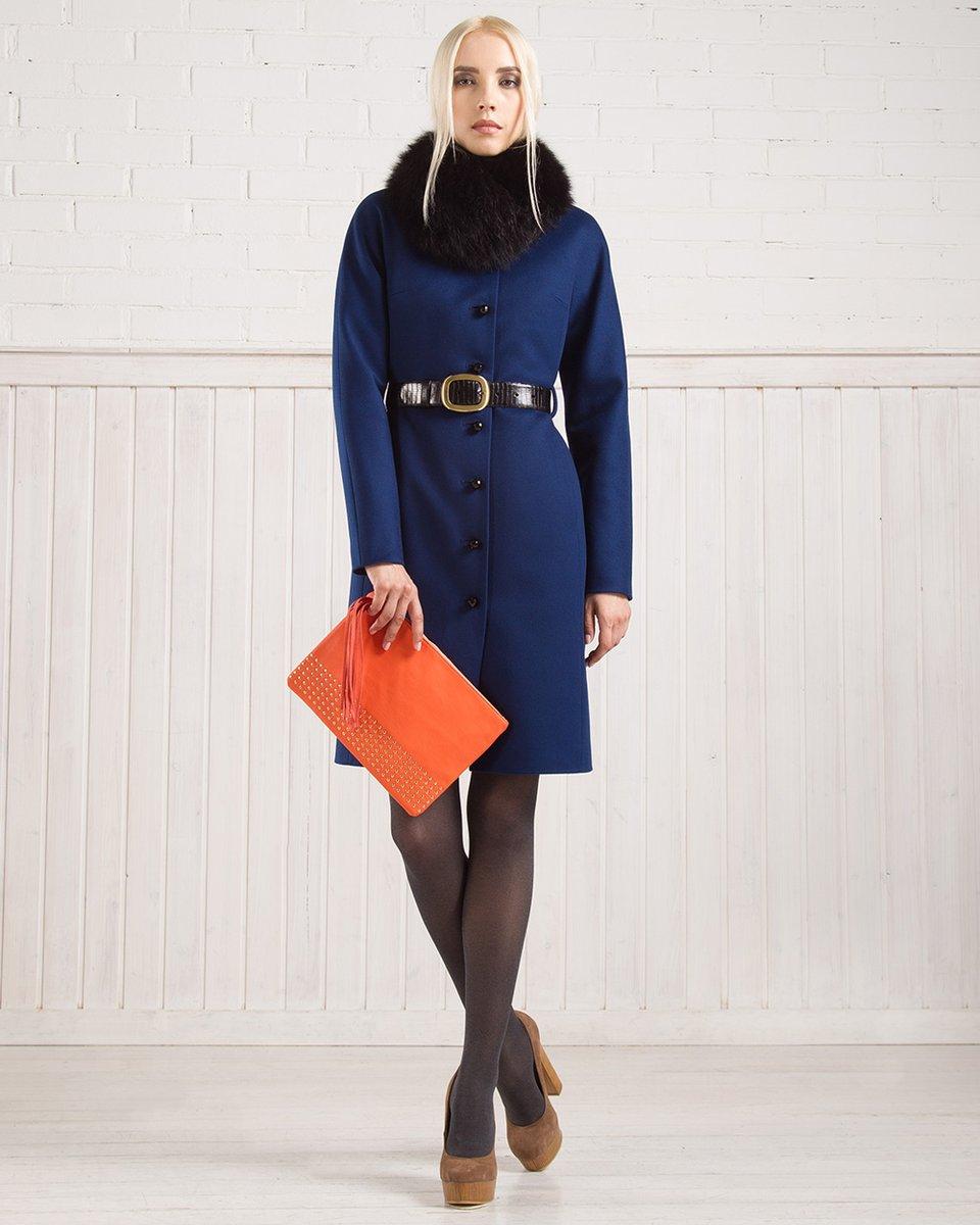 Зимнее пальто из шерсти, с цельнокроеным рукавом, синее
