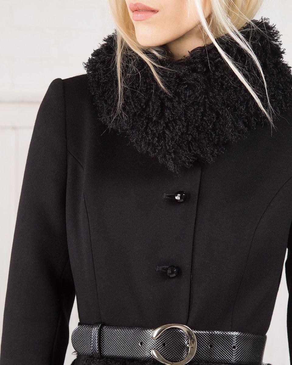 Зимнее пальто из шерсти с воротником и юбкой из искусственного меха, черное