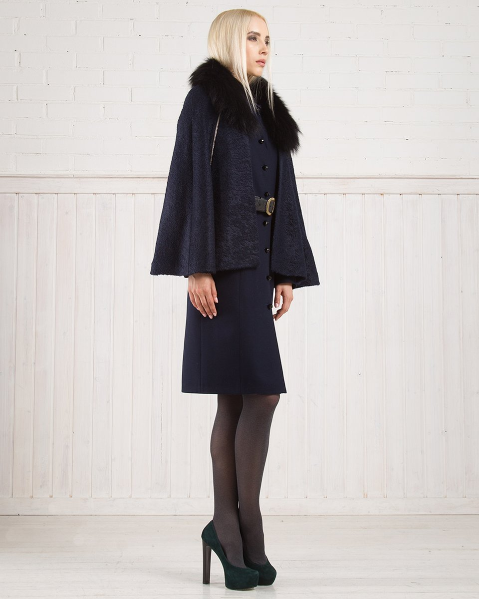 Зимнее пальто из шерсти со съемной накидкой, синее