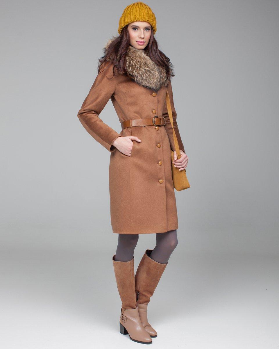 Зимнее пальто карамельного цвета