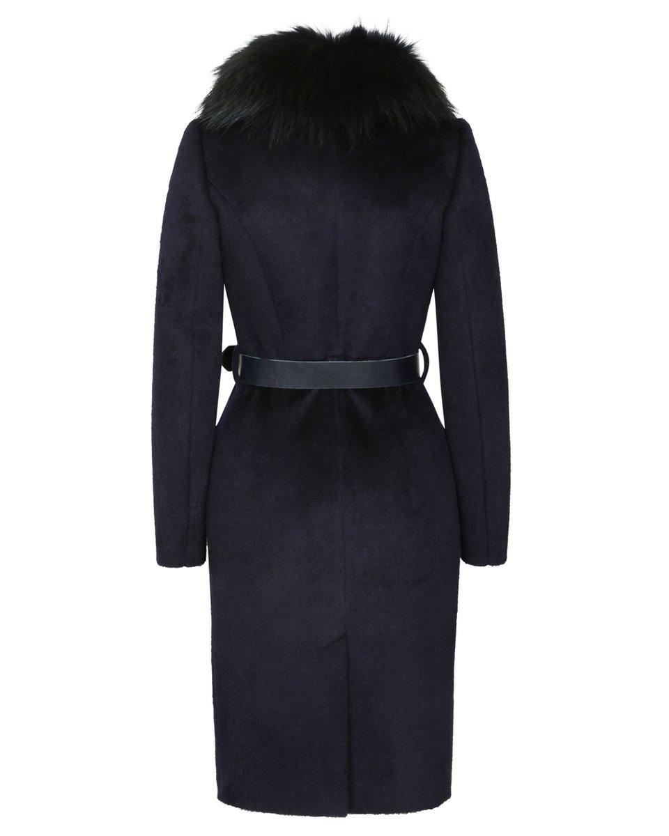 Зимнее пальто с юбкой-тюльпан и воротником из меха енота
