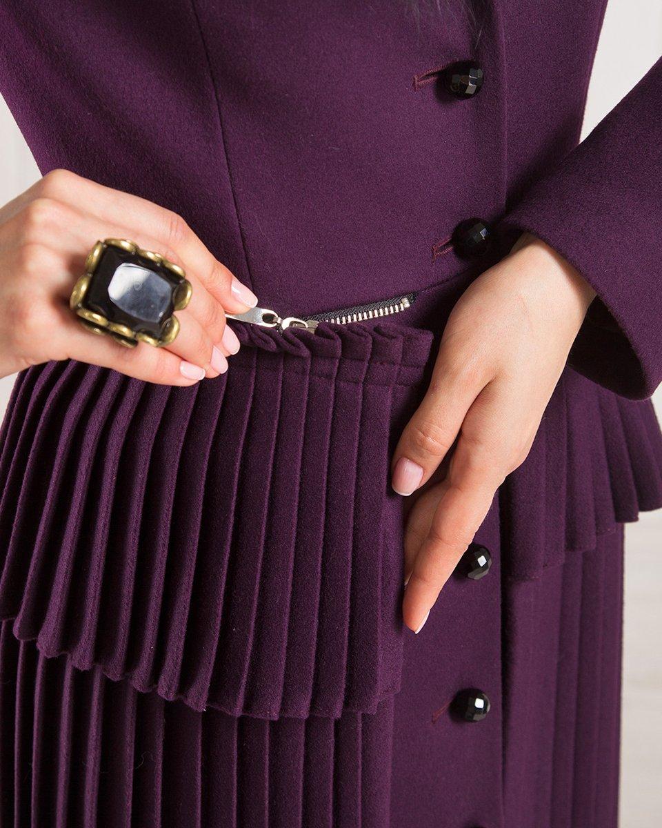 Зимнее пальто-трансформер с плиссированной баской, черничное.