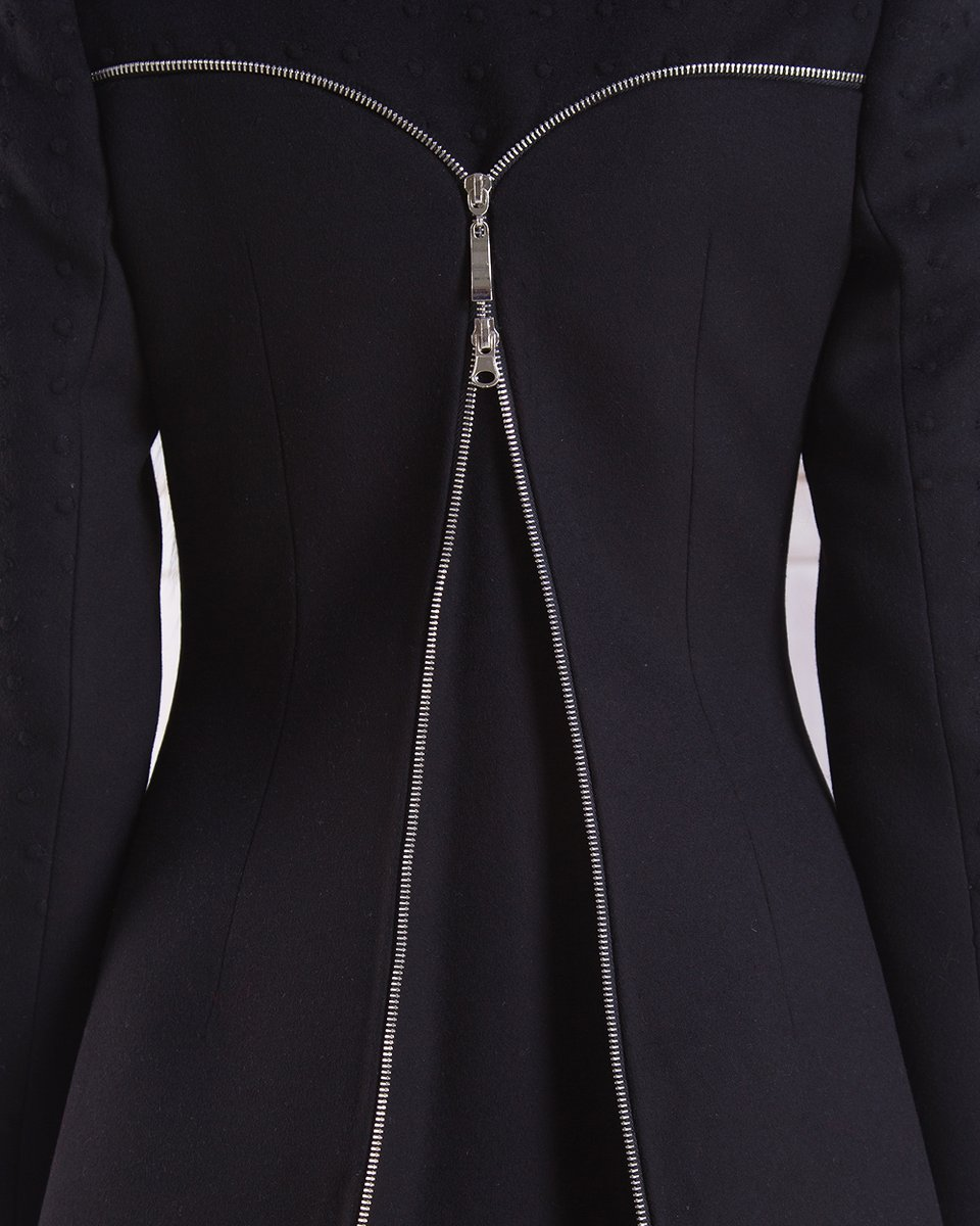 Зимнее полупальто-трансформер с воротником-шалью, черное.
