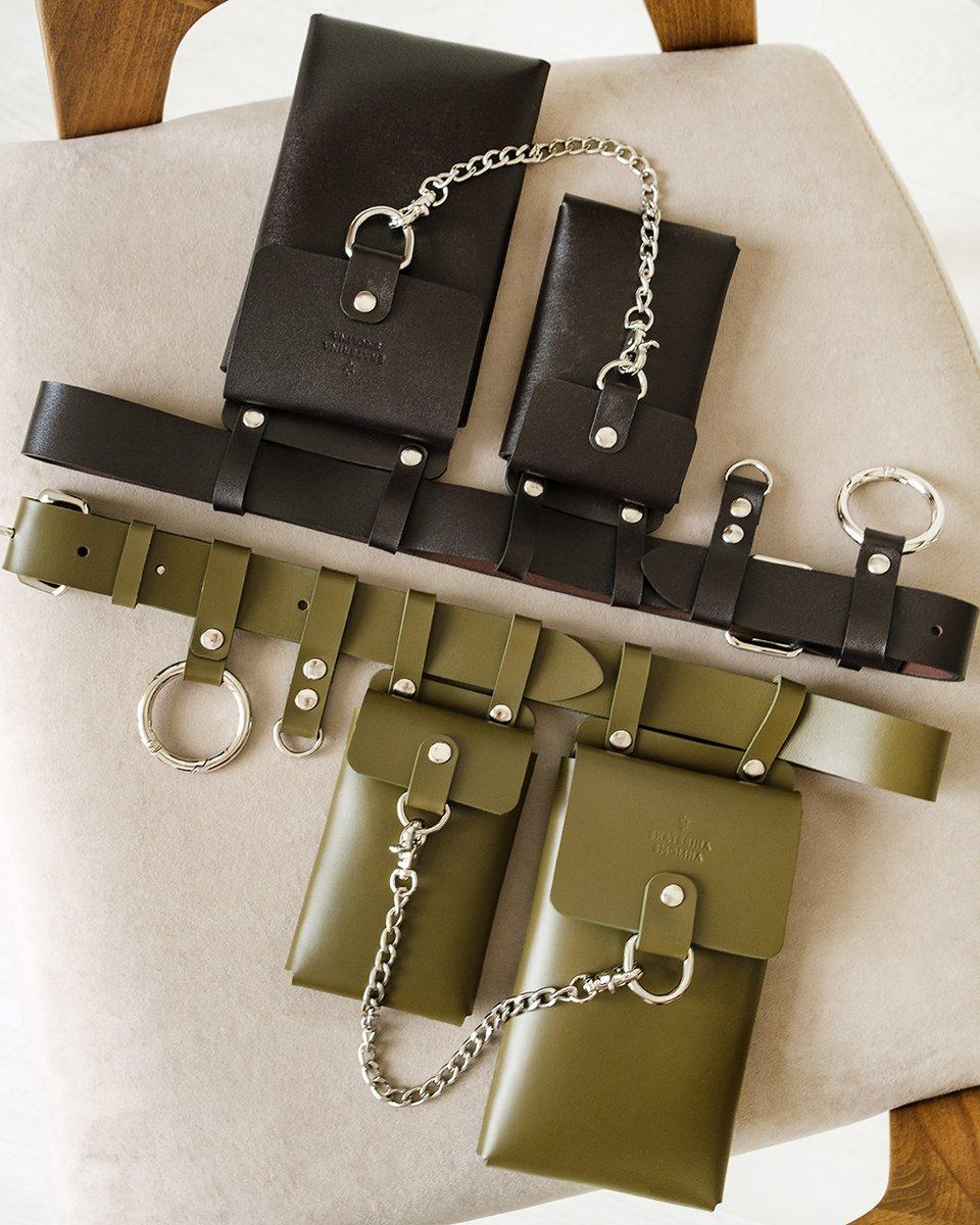 Кожаный пояс шоколадного  цвета с подвесными кармашками