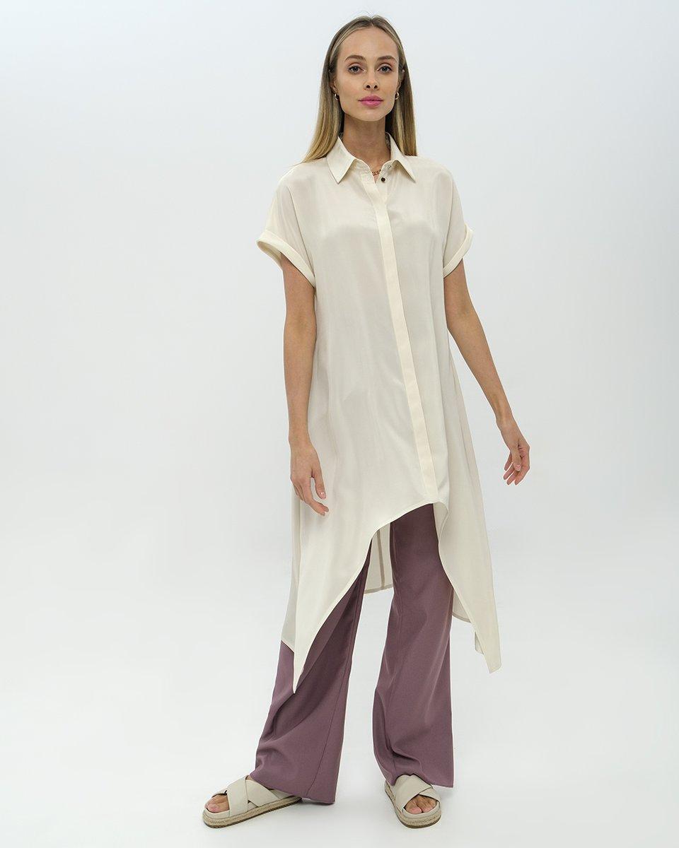 Платье рубашка с асимметричным подолом