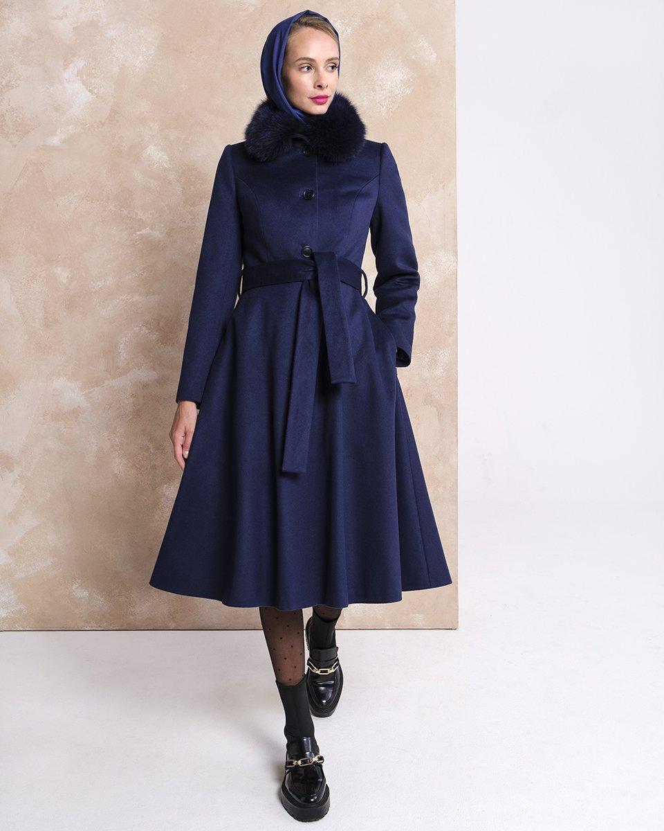 Зимнее пальто синего цвета с юбкой-полусолнце