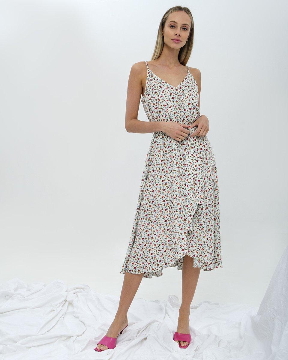 Платье на тонких бретелях в мелкий цветочный принт