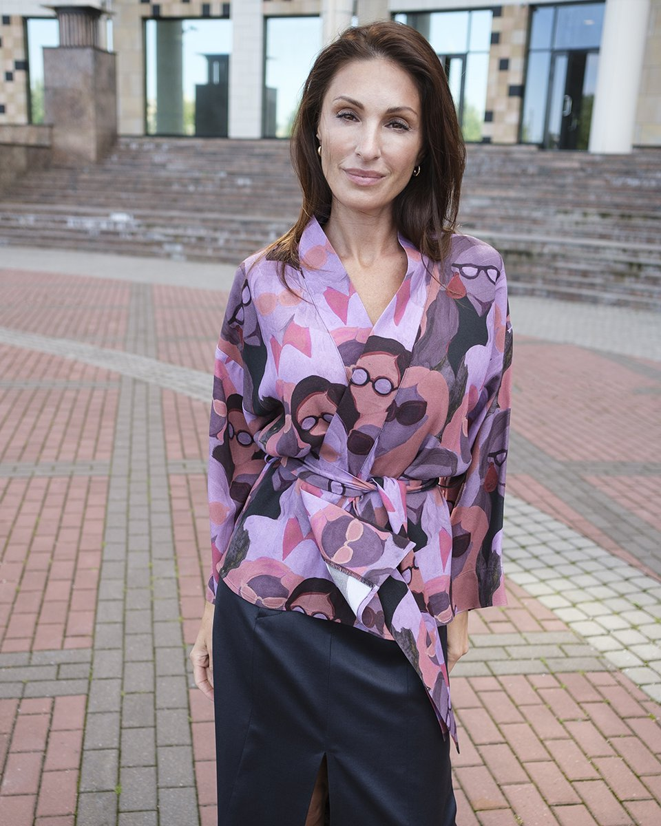 """Блуза-кимоно с принтом """"лица"""", из вискозы"""