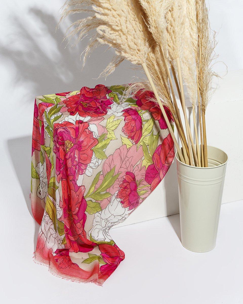 """Палантин розово-салатовый принт """"Яркие цветы"""""""