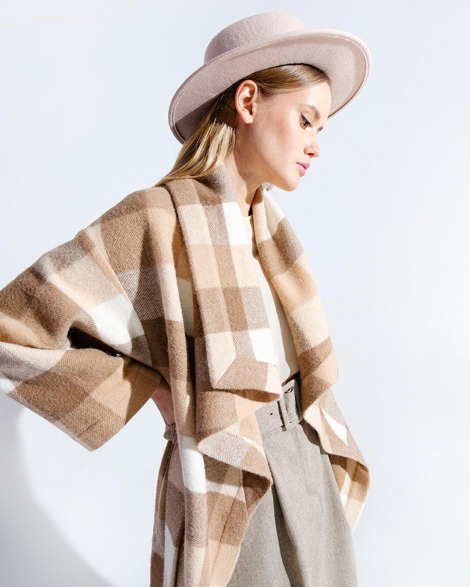 Limited Edition. Пальто-кардиган из альпаки и шерсти, в крупную клетку