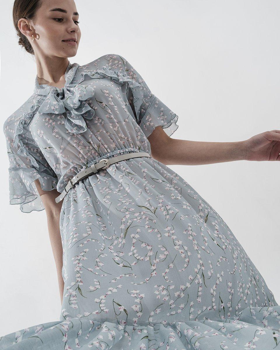 Платье голубое шифоновое с воланами с бантом