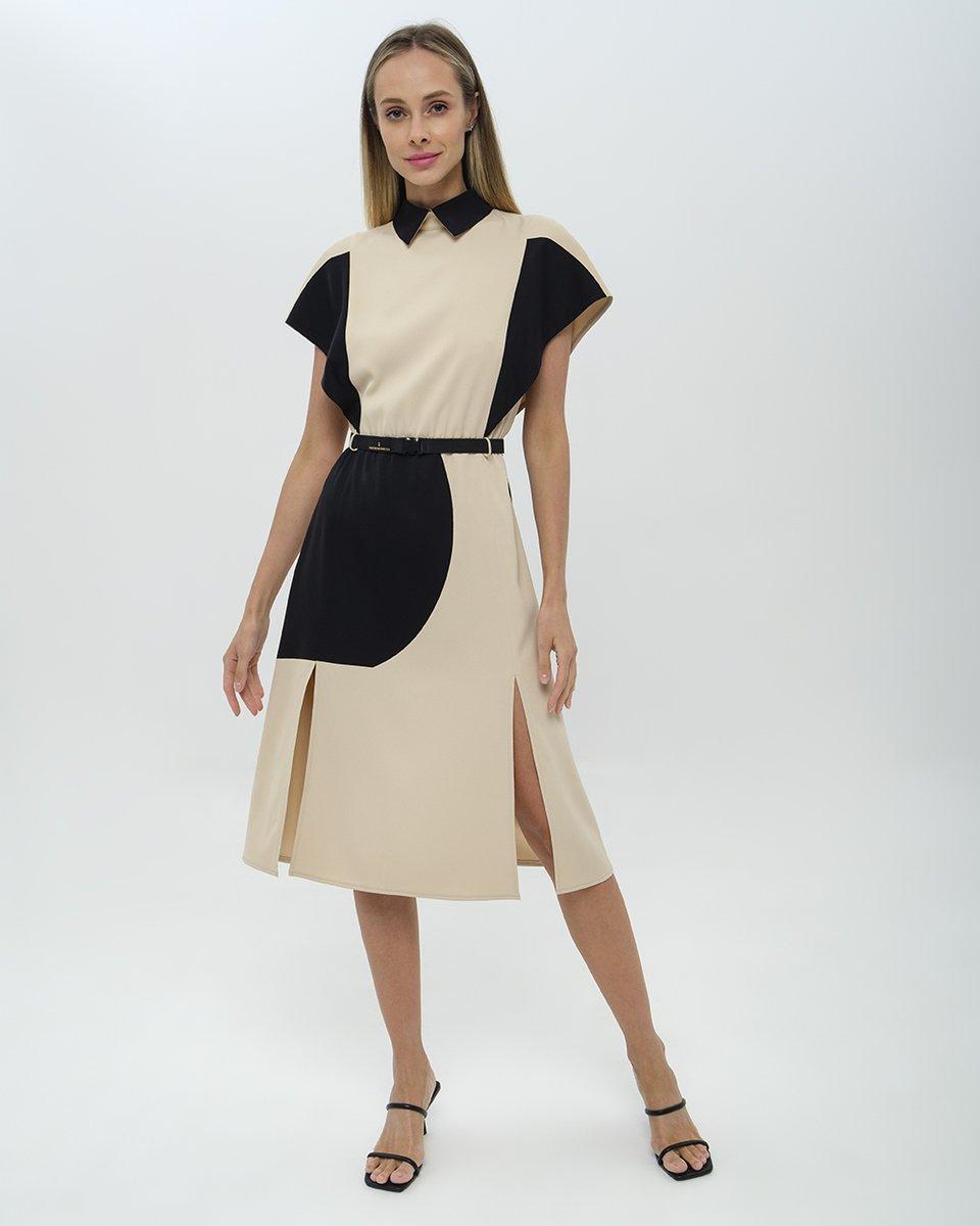 Платье с абстрактным принтом и рукавами-крылышками