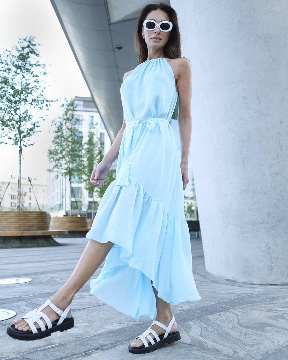 Платье с пышным воланом, голубого цвета