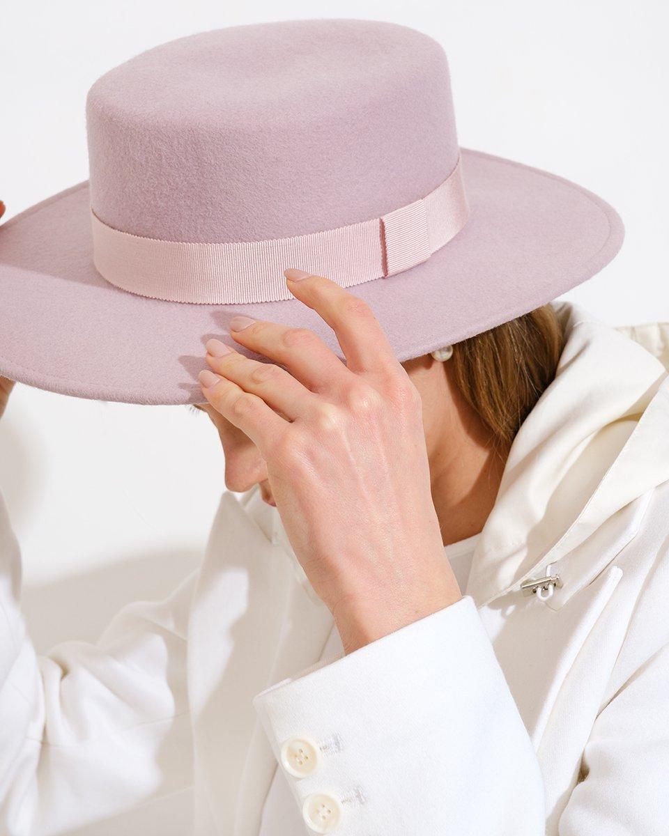 Шляпа Canotier розового цвета