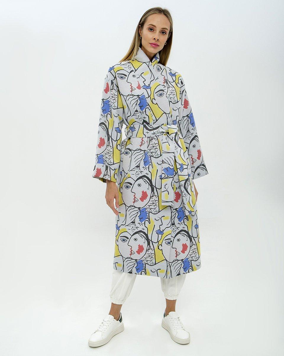 """Limited edition. Пальто-кимоно с принтом """"Лица"""""""