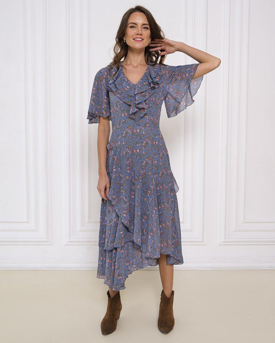 Платье с воланами и цветочным принтом черничного цвета. Коллаборация ES&DS