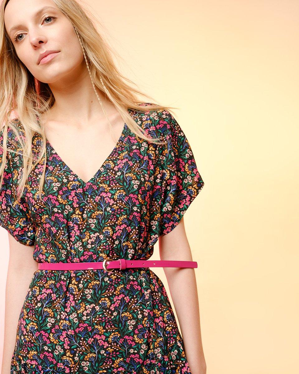 Платье с вырезом и юбкой-воланами с цветочным принтом