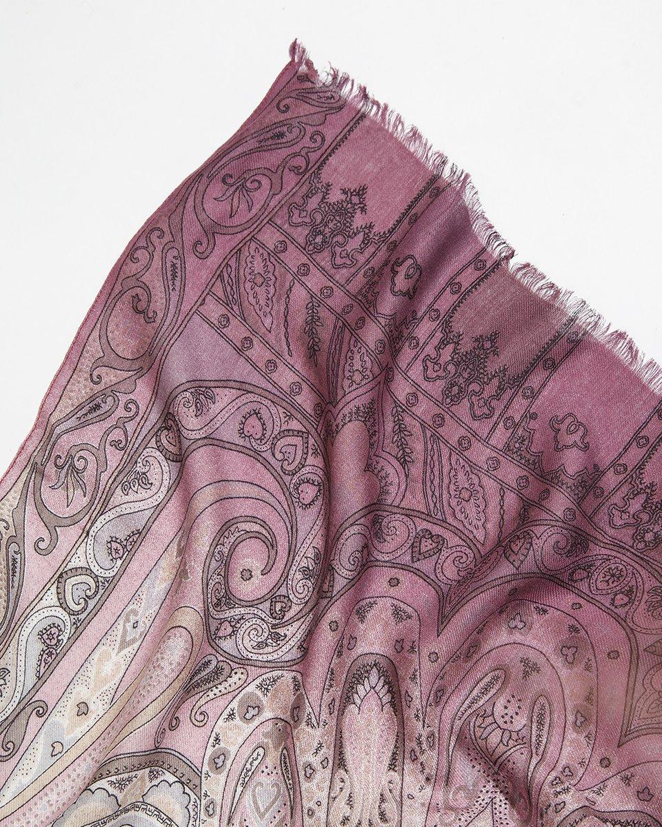 Палантин розовый с орнаментом 58/178