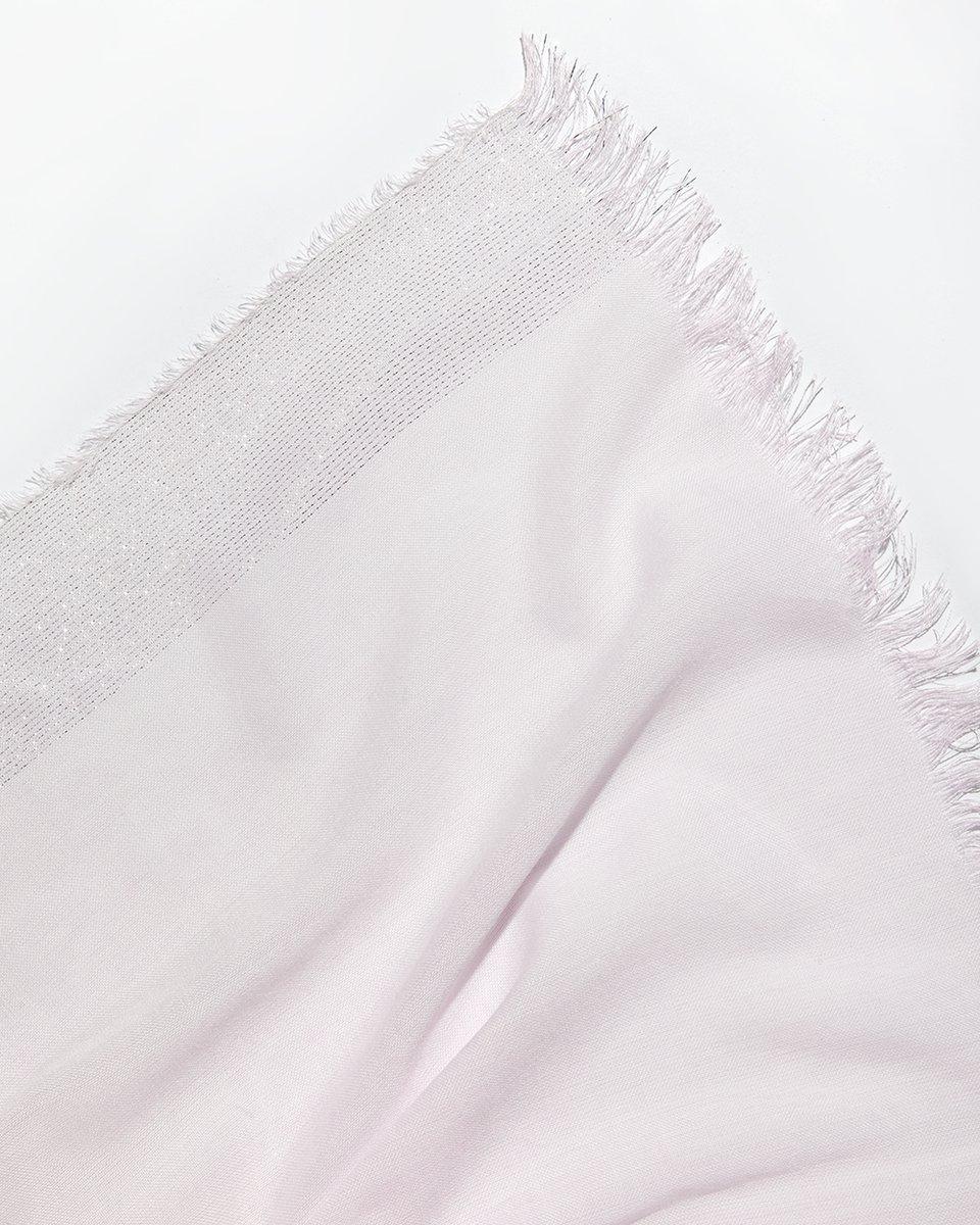 Палантин розового цвета кайма- люрекс