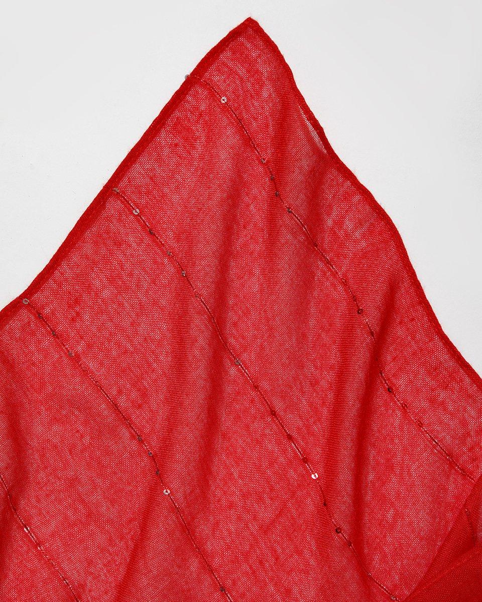 Палантин красного цвета с пайетками