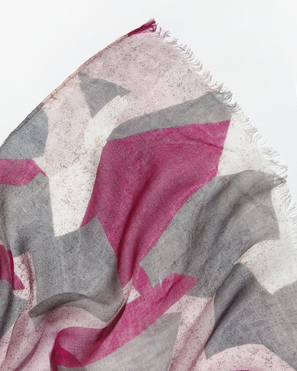 Палантин серо-розовый 100/200